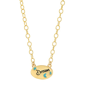 Sterling Colorful Words Enamel Oval Necklace
