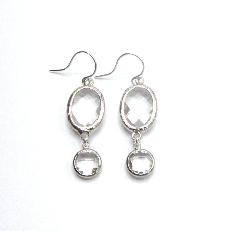 Hand Fabricated Earring with Double Crystal