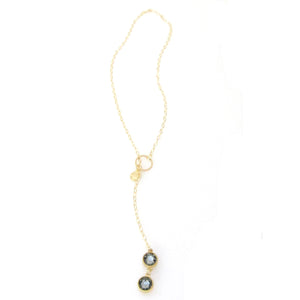 """Nina"" Double Bezel Pull Through Necklace"