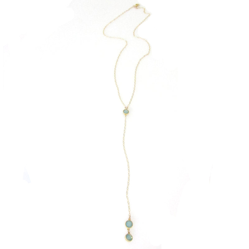 """Nina"" Double Bezel Long Y Necklace"
