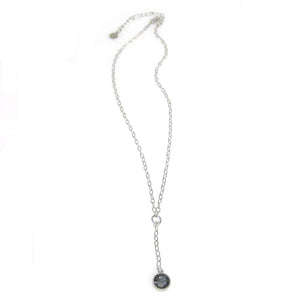 """Nina"" Double Bezel Short Y Necklace"