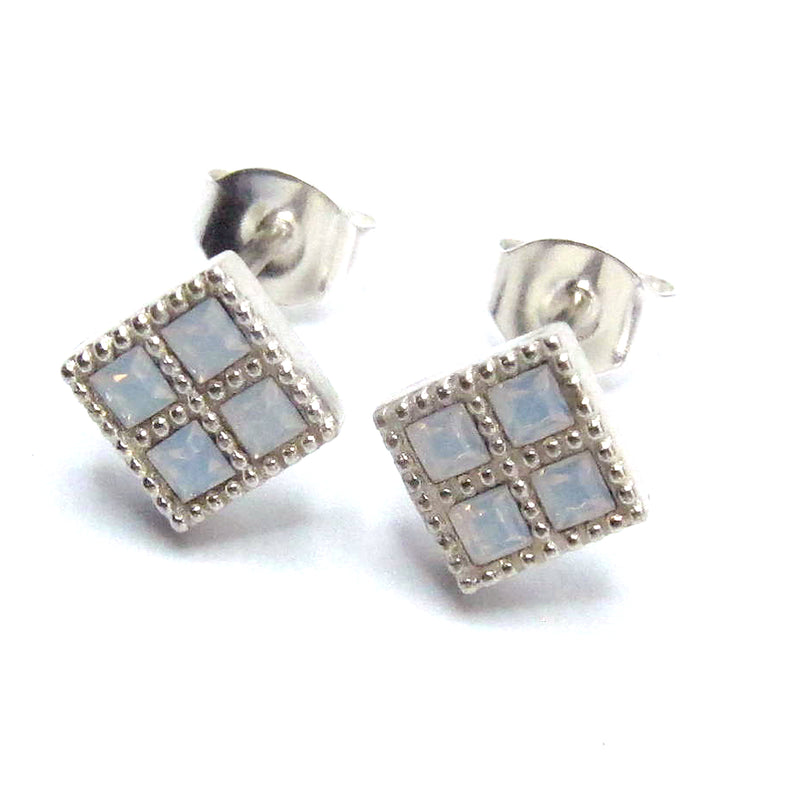 Sterling Silver Mini Grid Earrings with Swarovski Crystals