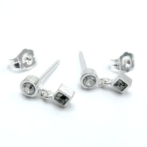 "Sterling Silver ""Combo"" Drop Stud With Swarovski Crystals"