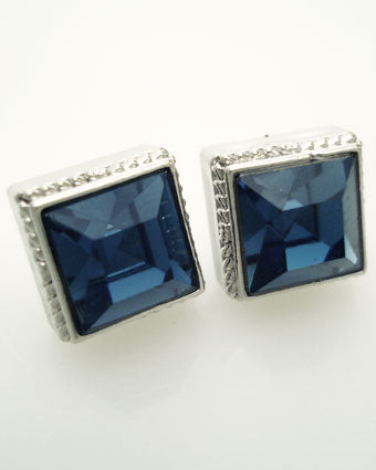 "Chunky Square ""Mona"" Studs with Swarovski Crystals"
