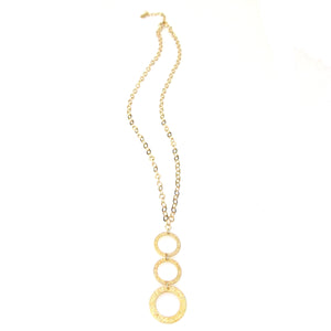 "Triple ""Eternity Circle"" Long Necklace on Sparkle Chain"