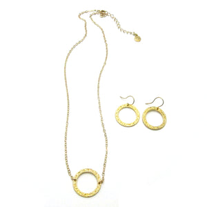 Combo Set: Single Eternity Circle Necklace + Eternity Circle Earrings