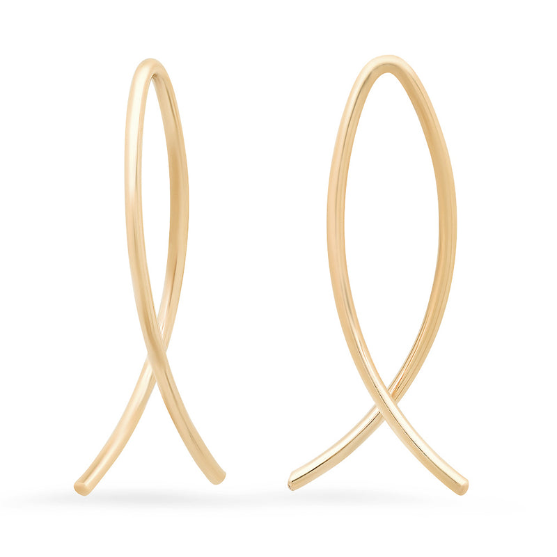 Small Sterling Silver and Gold-Filled Crisscross Ear Wires