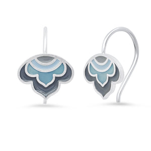 Sterling Enameled Lotus Ear Wires