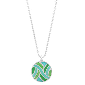 "Sterling Large Round Enameled ""Swirl"" Pendant"