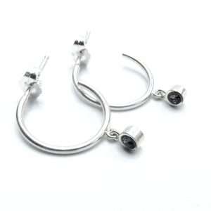 Sterling Silver Jamila Hoop with Swarovski Crystals