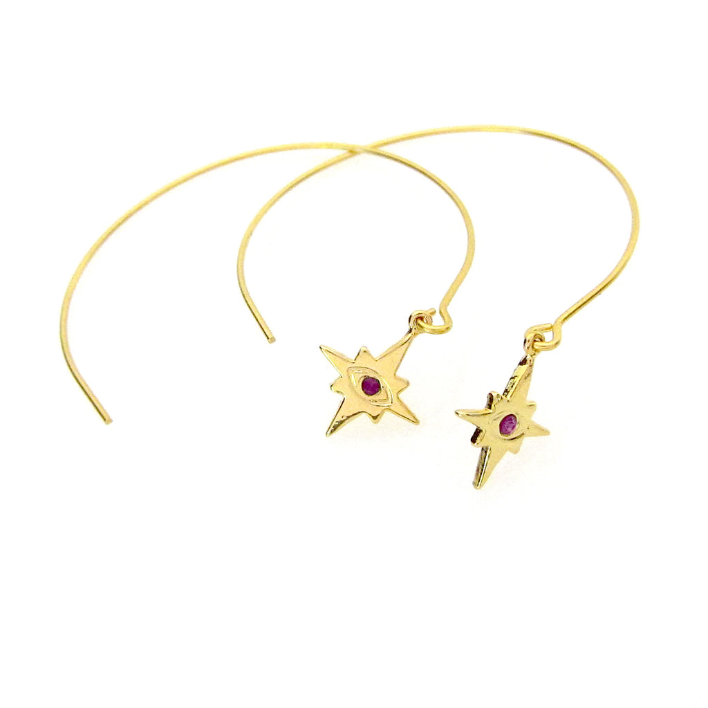 Celestial Collection Evil Eye Mini Star Open Hoops