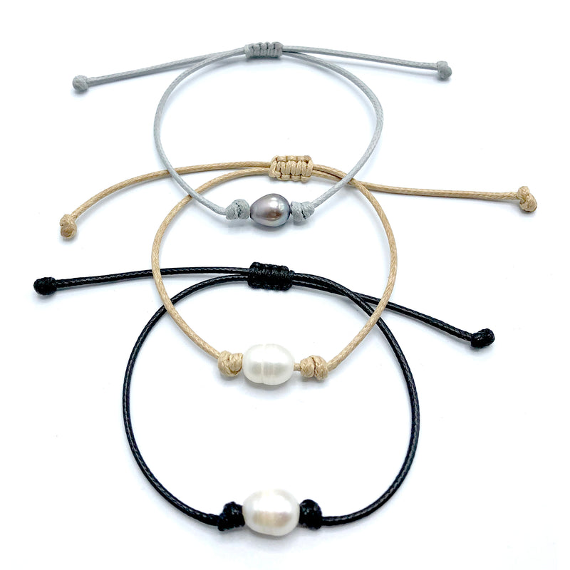 Freshwater Single Pearl Adjustable cord bracelet