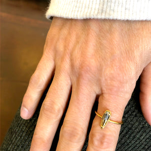 "Sterling/Gold over Sterling Florentine Mini ""Raindrop"" Ring"