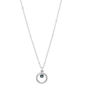 "Sterling Silver ""Eternity Circle"" Necklace with round Swarovski Crystals"
