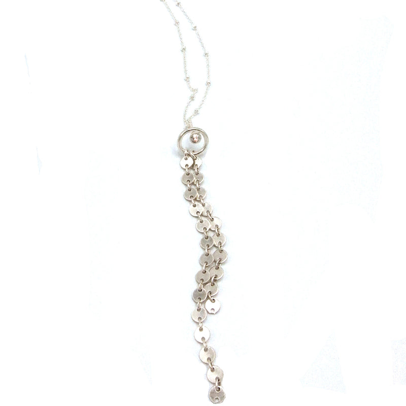 "Sterling Silver ""Circle"" Waterfall Chain Necklace With Swarovski Crystal"