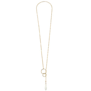 "Sterling and Semi-Precious ""Halo"" Circle Pull Through Necklace"