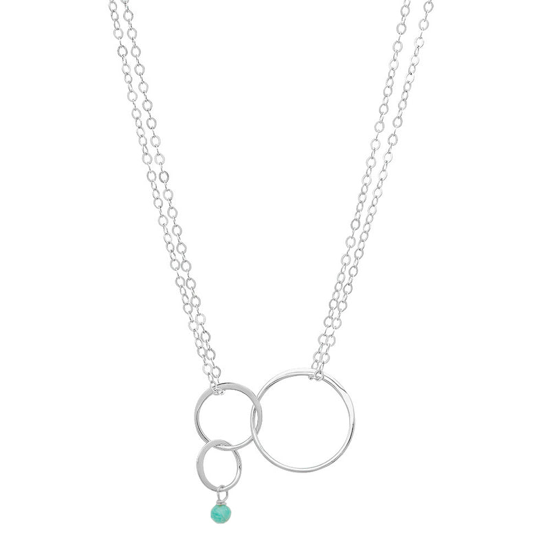 "Sterling and Semi-Precious Triple ""Halo"" Circle Necklace"