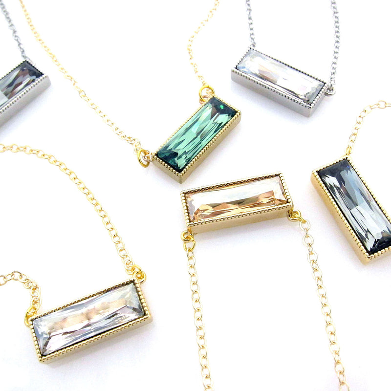 JE Classic Collection Large Sideways Baguette Pendant with Swarovski Crystal