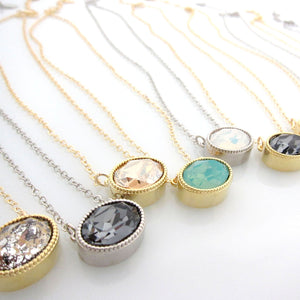 Combo Set:  Oval Pendant with Swarovski, Round earrings with Swarovski