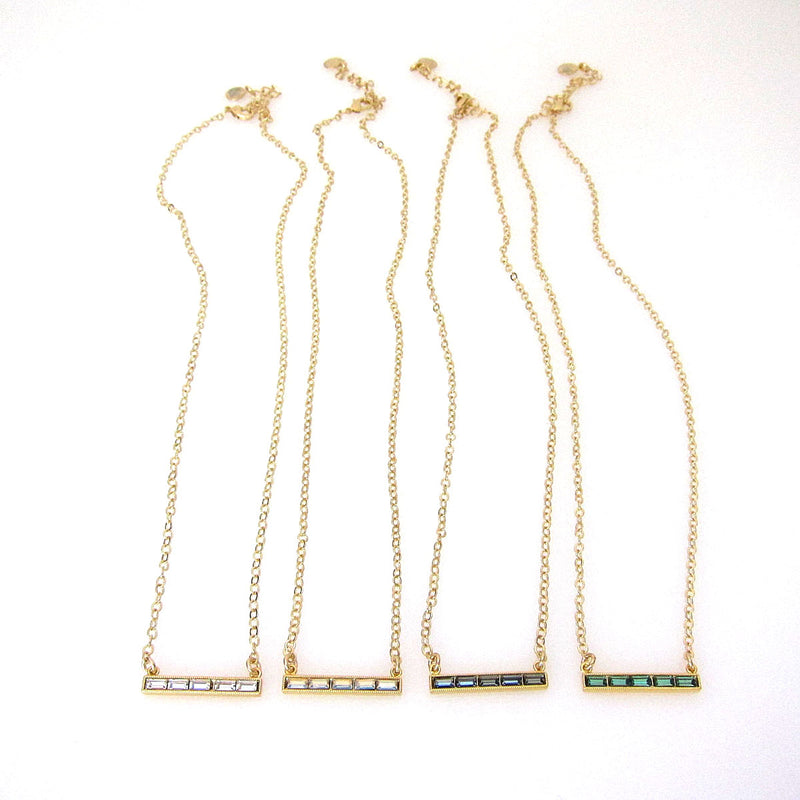 JE Classic Collection Baguette Bar Necklace with Swarovski Crystals