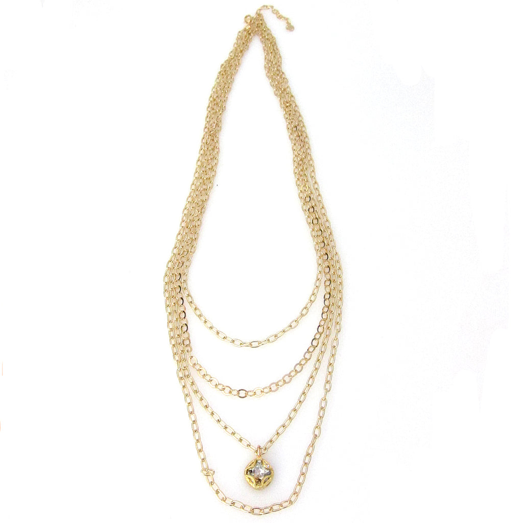 """Florentine"" Multi-Layered Long Cushion Cut Necklace"