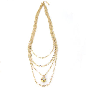 Florentine Collection Multi-Layered Long Cushion Cut Necklace