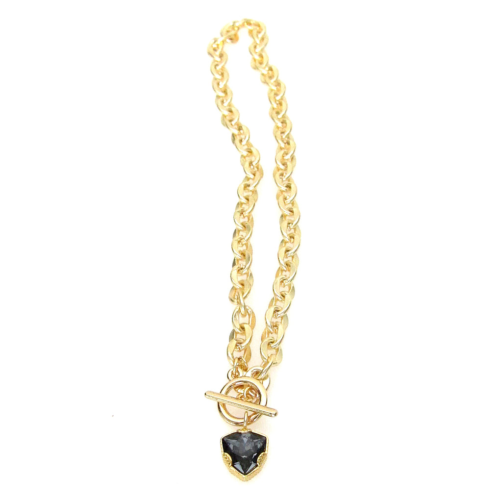 """Denmark"" Collection Swarovski Trilliant Cut Pendant Necklace with Geometric Toggle"