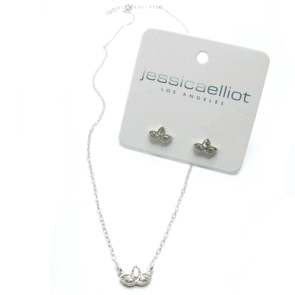 Combo Set:  Sterling Lotus Pendant with Swarovski, Sterling Lotus earrings with Swarovski
