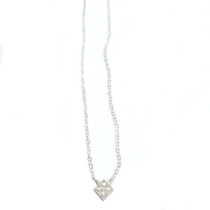 Sterling Silver Mini Grid Necklace with Swarovski Crystals