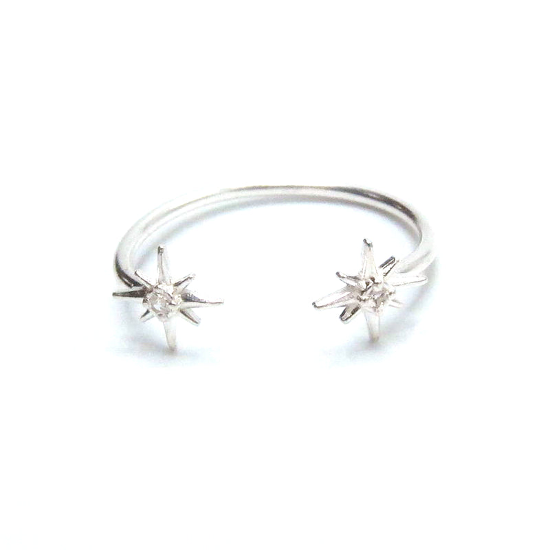"Sterling Silver Open ""North Star"" Ring with CZ"