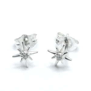 "Sterling Silver Tiny ""North Star"" Studs with CZ"