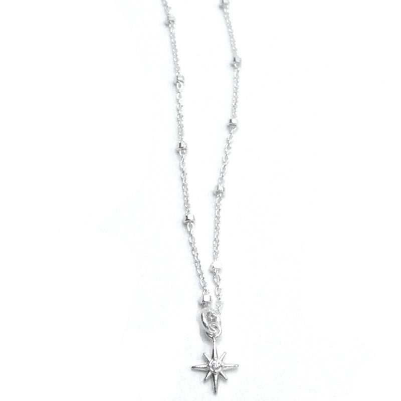 "Sterling Silver ""North Star"" Necklace with CZ"