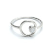 "Sterling Silver ""Eternity Circle"" Ring with Small Round Swarovski Crystal"