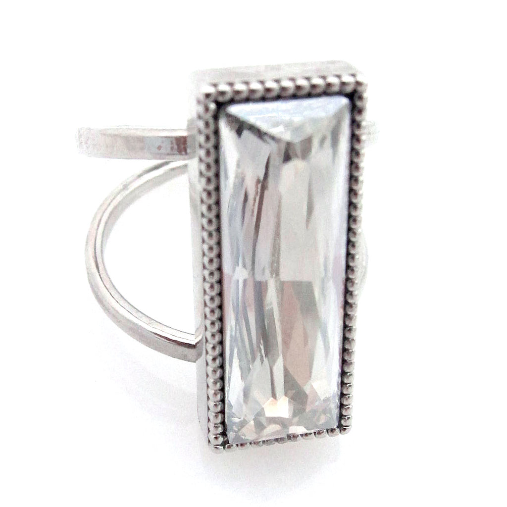 Open Shank Large Baguette Cocktail Ring with Swarovski Crystal