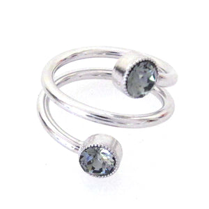 JE Classic Collection Twisted Wire Ring w/ Swarovski Crystal