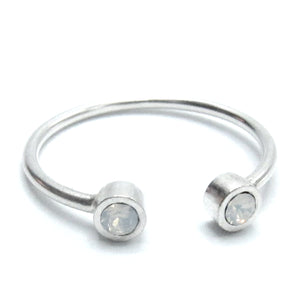 Sterling Silver Open Ring with Round Swarovski Crystals
