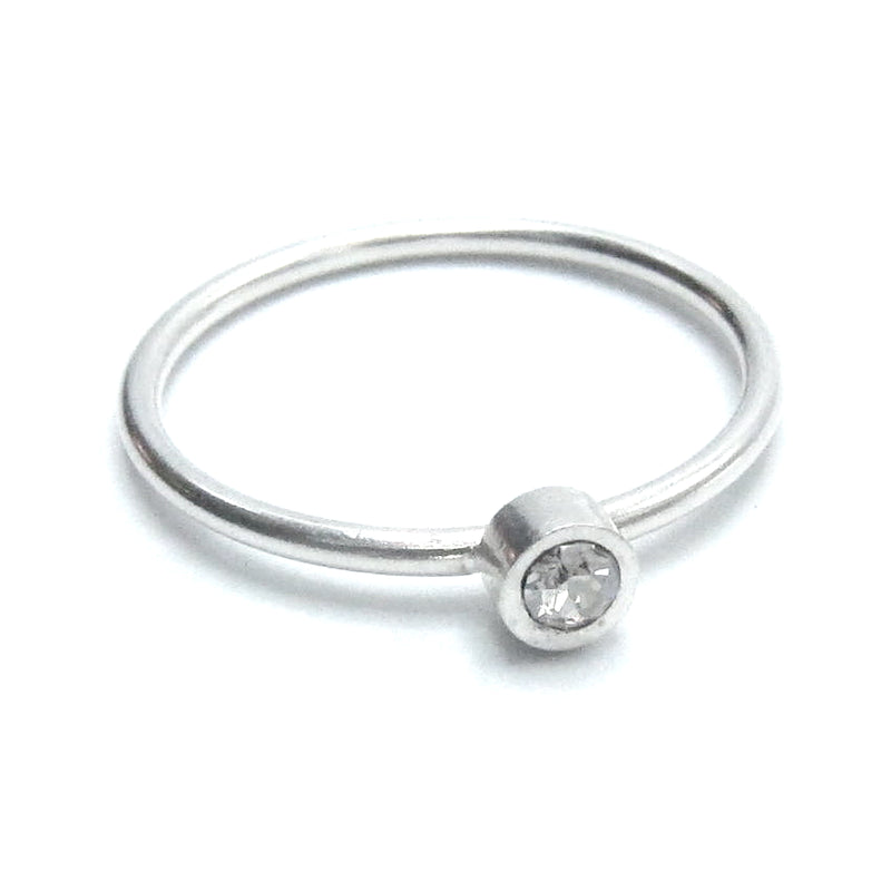 Sterling Silver Stackable Ring with Round Swarovski Crystal