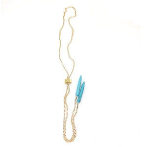 Denmark Collection Long Slider Necklace with Semi-Precious Stone Spikes