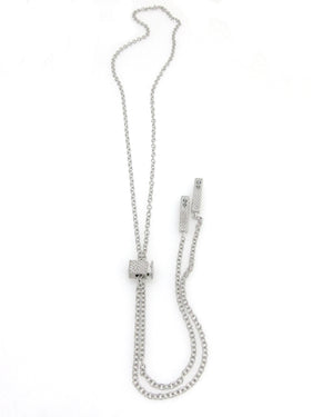 """Denmark"" Collection Long Slider Necklace with Textured Swarovski Bars"