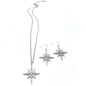 Combo Set:  Large Star Pendant with Swarovski, Large Star earrings with Swarovski