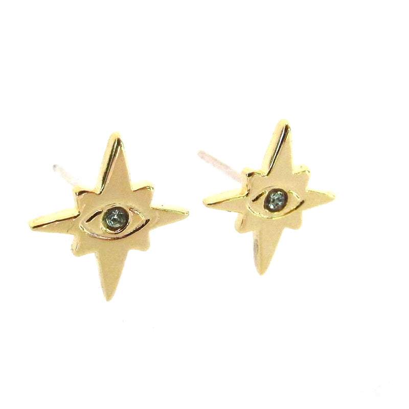 Evil Eye Star Studs with Swarovski Crystals