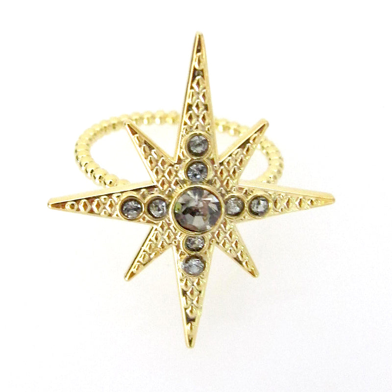 Celestial Collection Large Star Ring with Swarovski Crystals