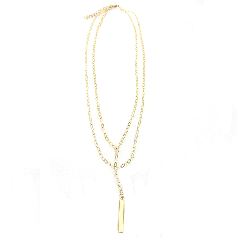 """Nina"" Short Layered Necklace with Bar"