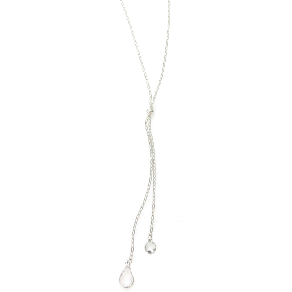 """Nina"" long Slider Necklace with round and oval crystals"