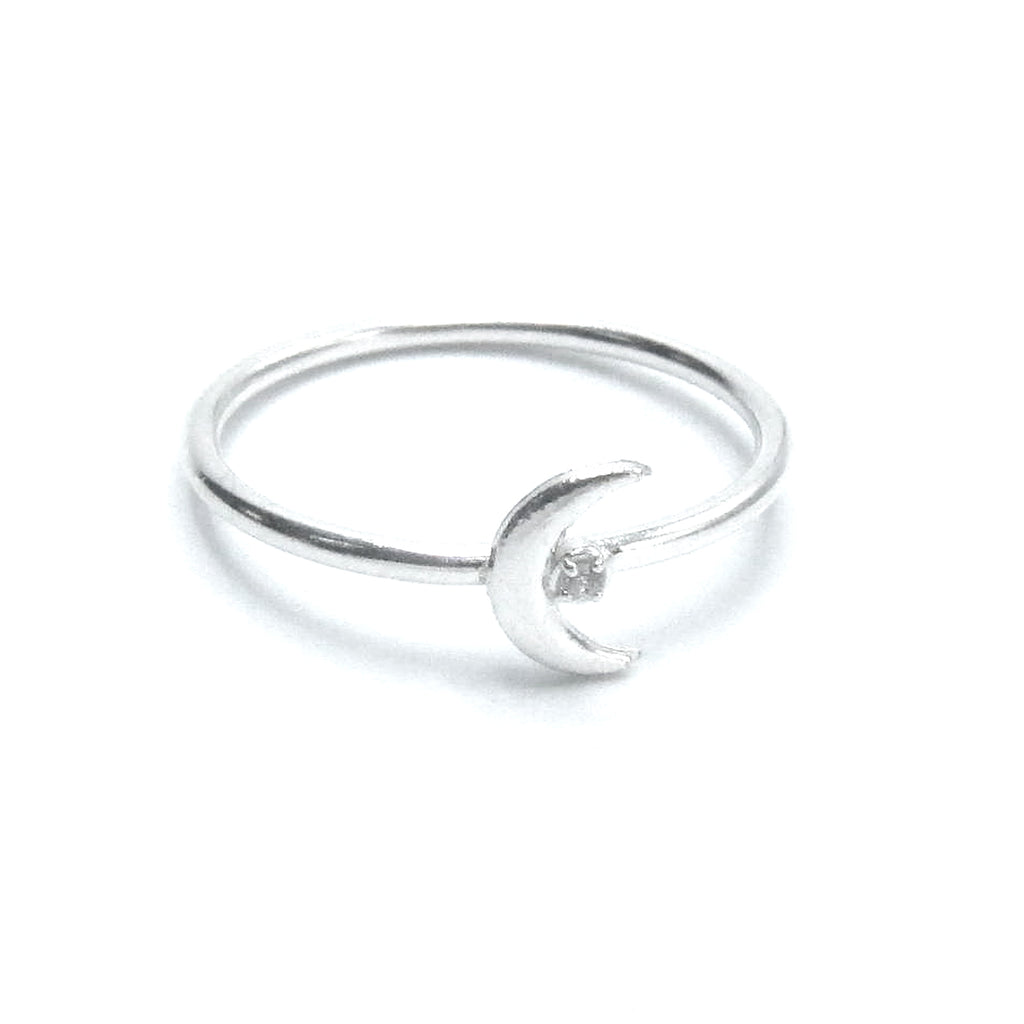 Sterling Silver Tiny Moon Stackable Ring