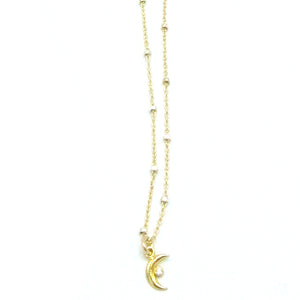 Sterling Silver Tiny Moon Necklace with CZ