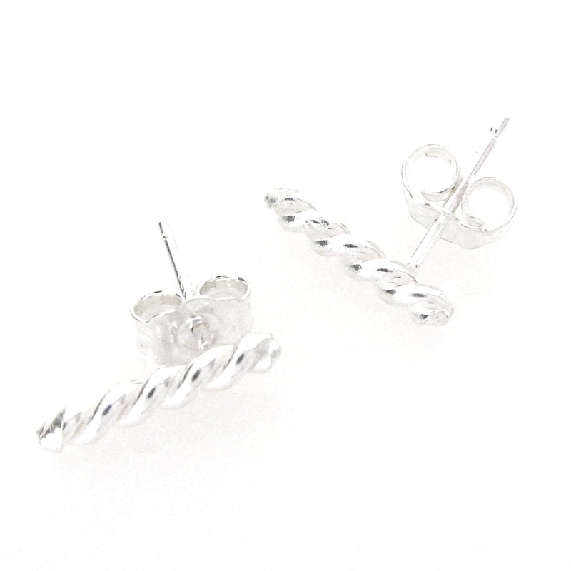 Sterling Silver Short Twist Bar Earring