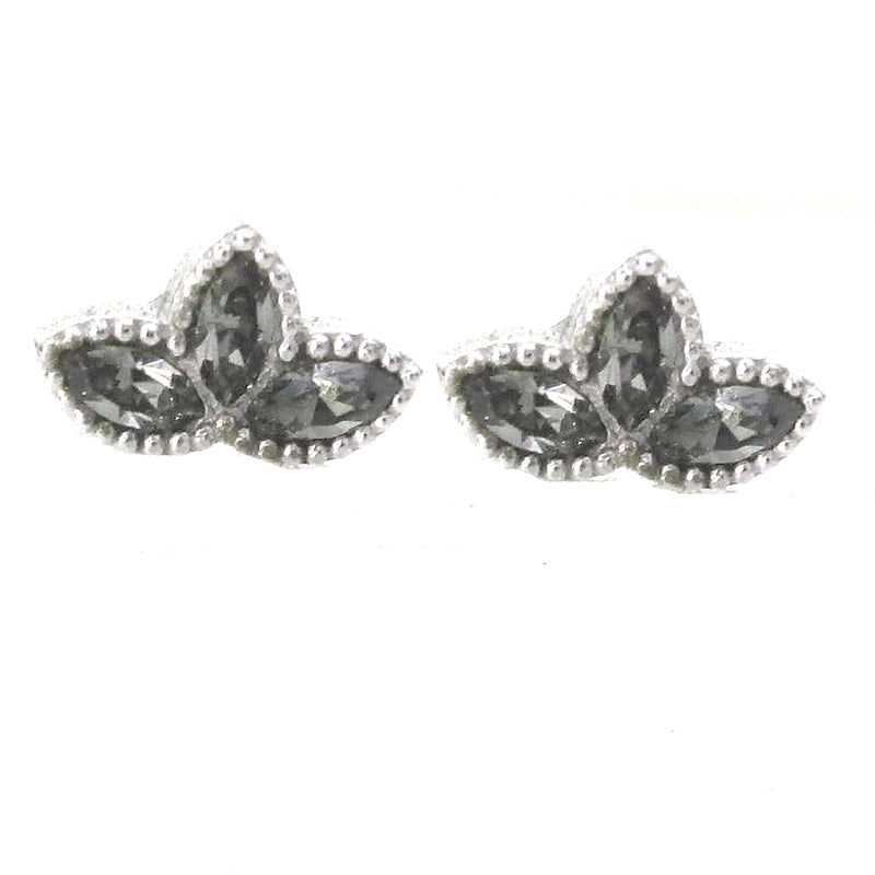 Sterling Silver Lotus Blossom Studs with Swarovski Crystals
