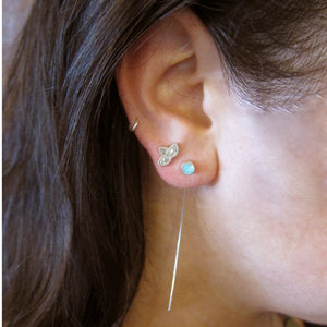 Sterling Silver Long Ear Wire With Swarovski Crystal