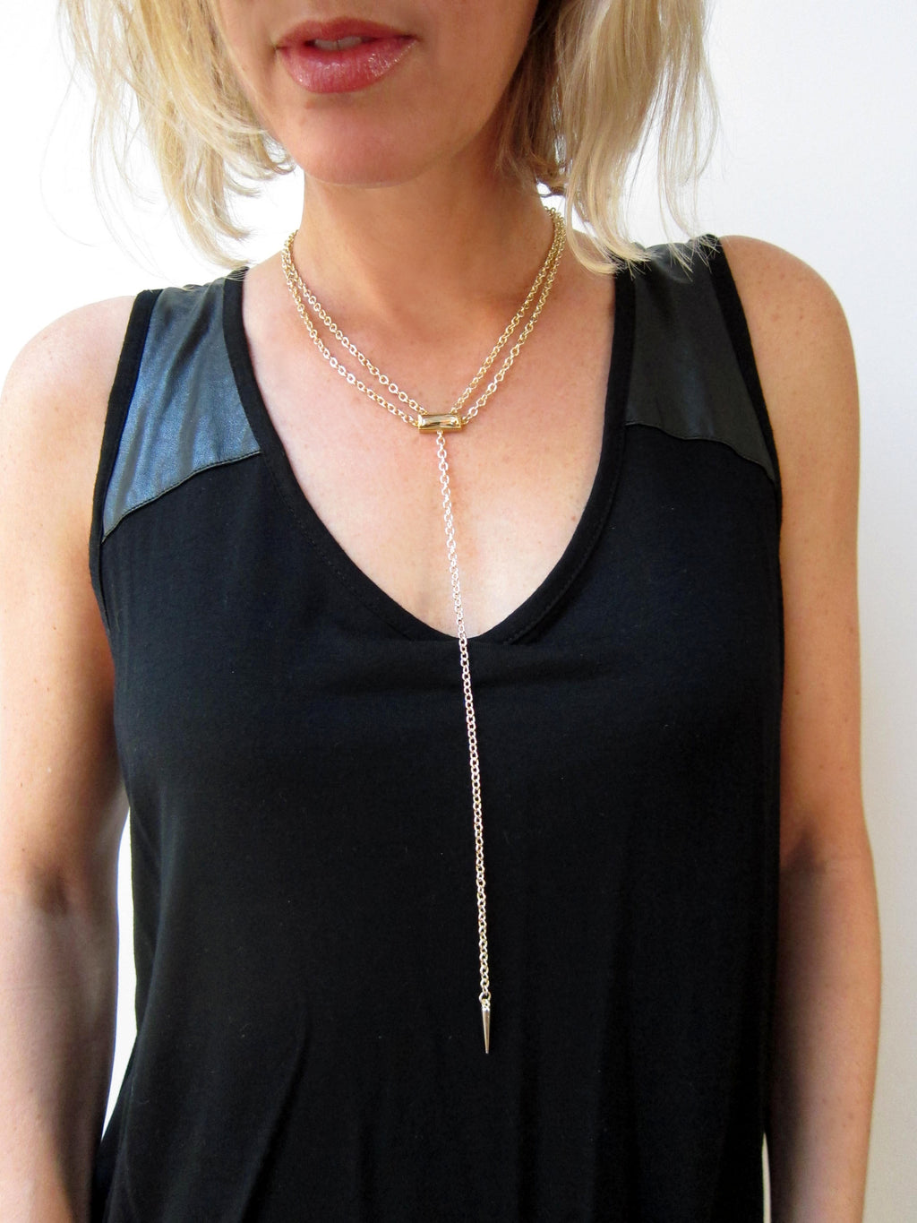 """Denmark"" Collection Double Chain Crystal Bar Necklace with Spike"